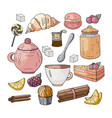 set for a tea party on a white background sweets vector image vector image