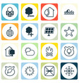 set of 16 ecology icons includes ocean wave sea vector image vector image