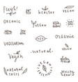 set of natural organic vegetarian vegan labels vector image