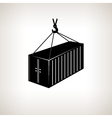 Silhouette container with crane vector image