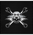 silver skull in helmet and wrenches with flames vector image vector image