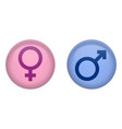 simple male and female sign 3d circle button pink vector image