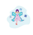 smiling fairy with magic wings cartoon girl vector image
