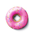 stock realistic donut pink vector image