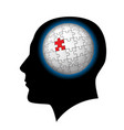 the man with puzzle sphere in the head on white vector image vector image