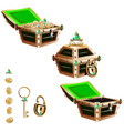 treasure chest with a gold frame and crystals vector image vector image