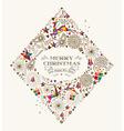 Vintage Christmas diamond greeting card vector image vector image