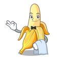 waiter fresh banana fruit mascot cartoon style vector image