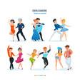 waltz tango ballet samba popular hip-hop vector image vector image