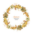 watercolor round frame of leaves and vector image vector image