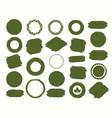 watercolor shapes green color set for bio emblem vector image