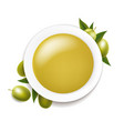 white ceramic bowl with olive oil and twig vector image vector image