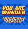 you are wonder super hero 3d vintage letters vector image