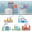 Industrial Factory Buildings Architectural Set vector image