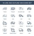 16 van icons vector image vector image
