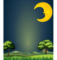 A bright sky with a sleeping moon vector image vector image