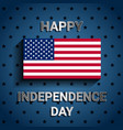 american flag on blue background for independence vector image vector image