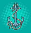 anchor with rope pop art style vector image vector image