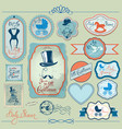 baby boy shower set in retro style calligraphi vector image vector image
