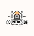 barn countryside vintage concept logo template vector image