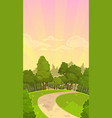 beautiful cartoon morning park landscape vector image vector image