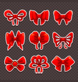 beautiful cartoon red bows set vector image vector image