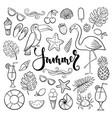big set hand drawn cute cartoon summer symbol vector image