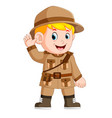 cartoon little boy scout vector image