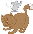 cat and mouse cartoon vector image vector image