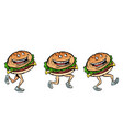 character gait burger set vector image