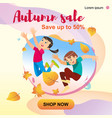children playing in the park throwing up leaves vector image