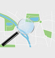city map and transparent magnifying glass vector image