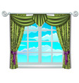classic window and view of sky and clouds vector image