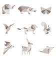 color origami animals vector image
