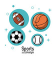 colorful poster of sports lifestyle with balls of vector image vector image