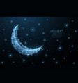 crescent moon abstract polygonal wireframe vector image