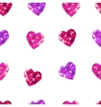 Crystal hearts white pattern vector image vector image