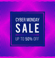 cyber monday sale concept banner 1980-1990s style vector image