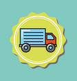 delivery truck transport cartoon emblem vector image