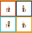 flat icon people set of grandson grandpa mother vector image vector image