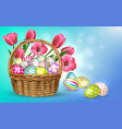 flower eggs basket composition vector image vector image