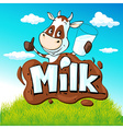 funny cow hold glass milk behind milk text on vector image