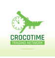 green crocodile alligator animal icon text vector image