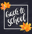 hand drawn back to school lettering with frame vector image