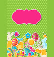 happy easter greeting card with holiday stickers vector image vector image