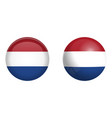holland flag under 3d dome button and on glossy vector image vector image