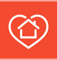 house in heart logo vector image vector image