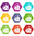 kettle retro icons set 9 vector image vector image