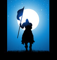 knight bearing a flag vector image vector image