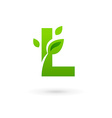 Letter L eco leaves logo icon vector image